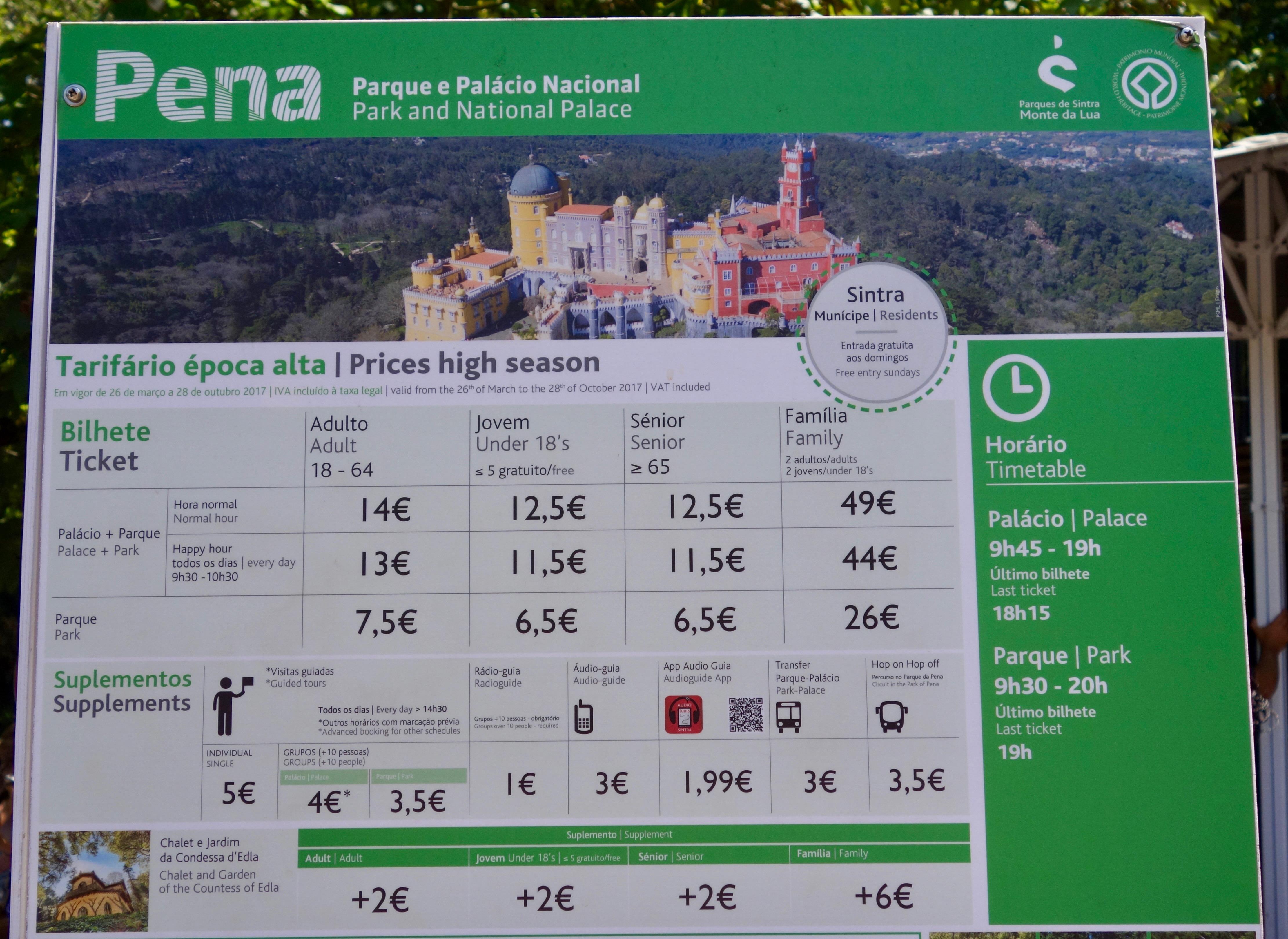 Sintra : Palácio da Pena (UNESCO Weltkulturerbe) Ticketpreise