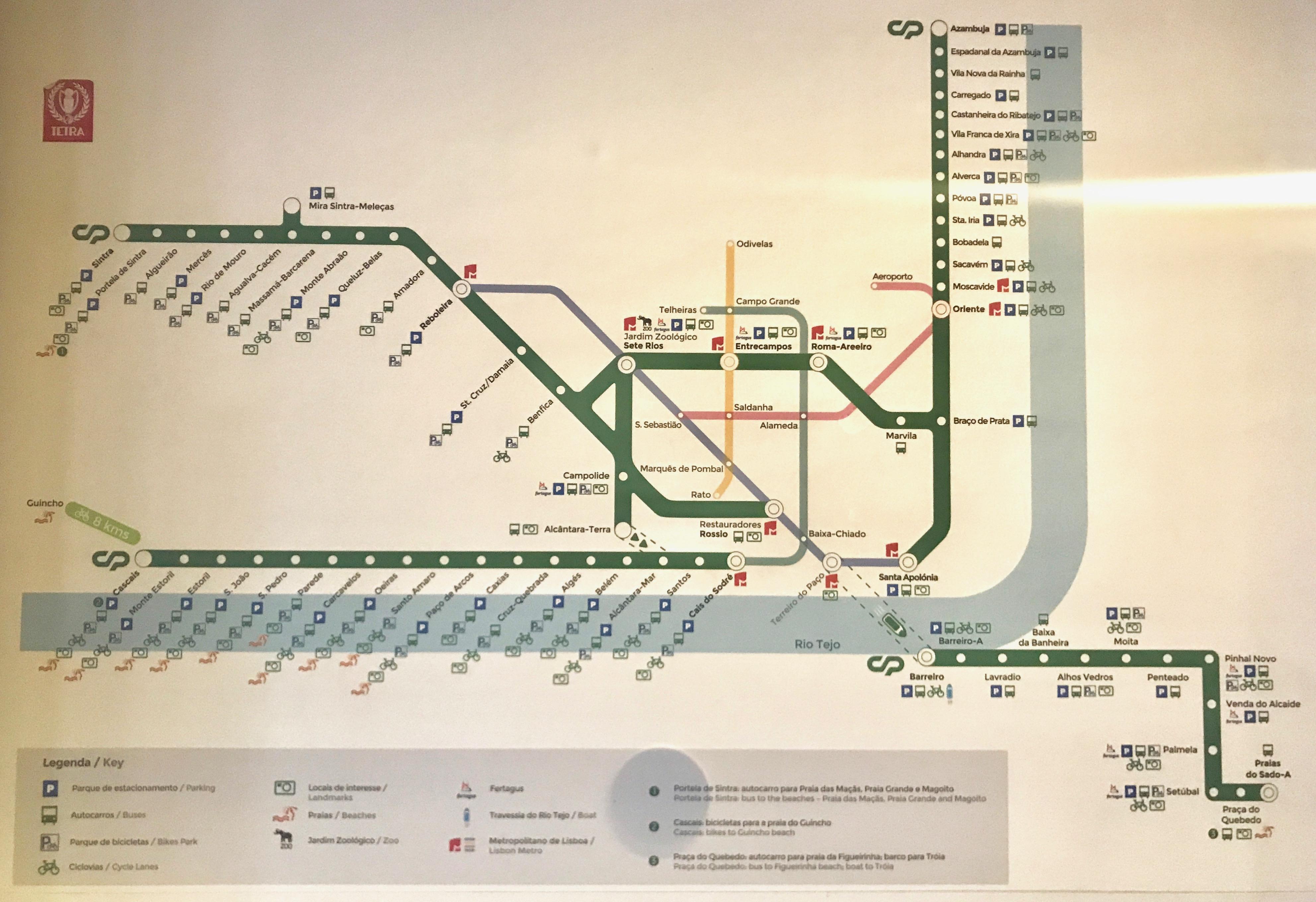 Lissabon : kompletter Zugfahrplan