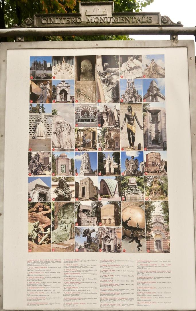 Mailand: Cimitero Monumentale (die künstlerisch besten Gräber / Tempel auf dem Zentralfriedhof sind hier aufgelistet. Es sind meist Familiengräber, die von den besten Künstlern ihrer Zeit entworfen worden sind)